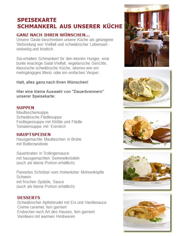 Spezialitäten und Speisekarte Zum Hirsch Hessental