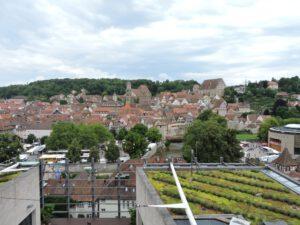 Aussicht auf die Altstadt von Schwäbisch Hall und Globe, zum-hirsch-hotel.de