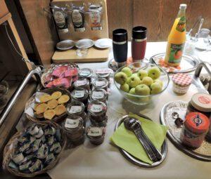 Frühstückbuffet Gasthaus Zum Hirsch, Schwäbisch Hall, Hessental, Gelee, Marmelade, Nutella, Saft, Kaffee